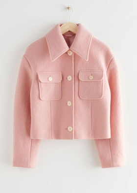 & Other Stories Buttoned Patch Pocket Wool Jacket - Pink Pink