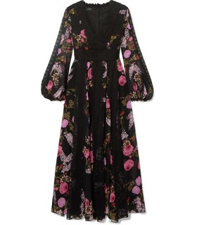 Giambattista Valli Giambattista Valli - Lace-trimmed Floral-print Silk-georgette Midi Dress - Black Black