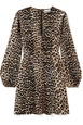 Ganni GANNI - Leopard-print Silk-blend Satin Mini Dress - Leopard print White, Brown