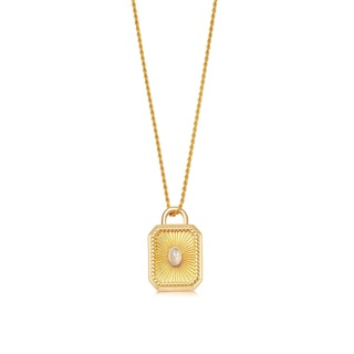 missoma Gold Moonstone Square Locket Rope Necklace Gold