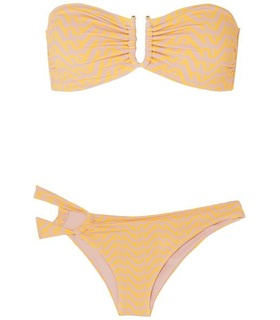 Self-Portrait Self-Portrait - Asymmetric Printed Bandeau Bikini - Yellow Yellow