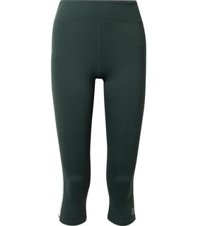 Tory Sport Tory Sport - Cropped Striped Stretch Leggings - Forest green Green