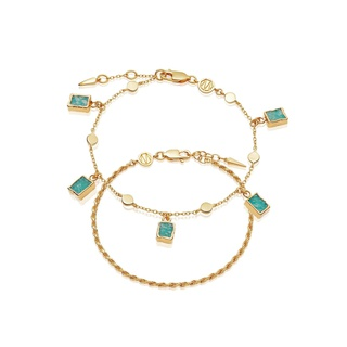 missoma Gold Catena Amazonite Bracelet Set Gold