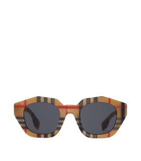 Burberry Burberry - Vintage Check Angular Oval Acetate Sunglasses - Womens - Beige White, Beige