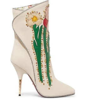 Gucci Gucci - Fosca Appliquéd Embellished Textured-leather Ankle Boots - White White