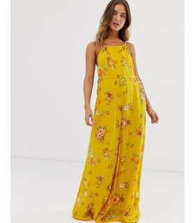 Free People Free People - Georgia - Blommig jumpsuit - Guld Gold