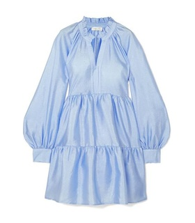 Stine Goya Stine Goya - Jasmine Crinkled-taffeta Mini Dress - Sky blue White, Blue