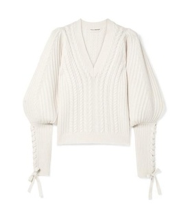 Ulla Johnson Ulla Johnson - Brisa Lace-up Wool And Cashmere-blend Sweater - Cream Beige