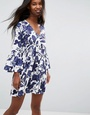 ASOS ASOS Smock Dress With V Neck and Trumpet Sleeve In Floral Print - Navy floral print White