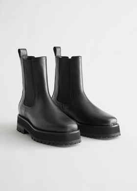 & Other Stories Squared Toe Leather Chelsea Boots - Black Black