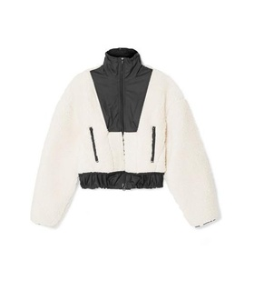 3.1 Phillip Lim 3.1 Phillip Lim - Cropped Shell-paneled Wool-blend Fleece Bomber Jacket - Neutral