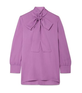 Gucci Gucci - Pussy-bow Silk-crepe Blouse - Purple White, Purple
