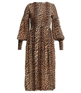 Ganni Ganni - Mullin Leopard Print Georgette Midi Dress - Womens - Leopard White, Brown