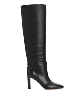 Arket Knee-High Slouch Leather Boots - Black Black