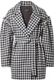 Mother Of Pearl Mother of Pearl - Emmett Belted Faux Pearl-embellished Gingham Wool Jacket - Black Black, White