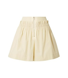 Tibi Tibi - Gathered Cotton-poplin Shorts - Pastel yellow Yellow