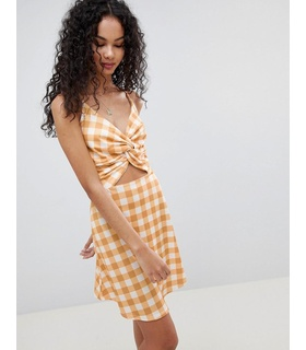 142fe2bd Lasula Lasula Check Tie Front Cut Out Dress - Mustard White, Yellow
