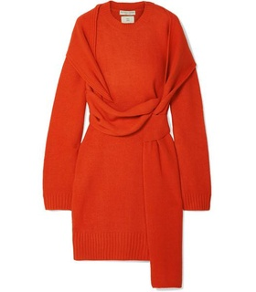 Bottega Veneta Bottega Veneta - Belted Wool Dress - Orange Orange