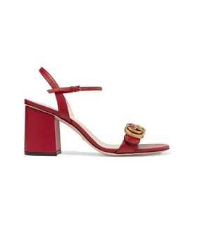 Gucci Gucci - Marmont Logo-embellished Leather Sandals - Red White, Red