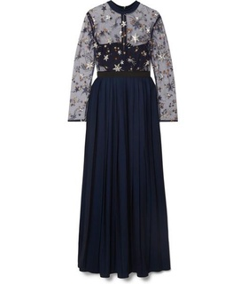 Self-Portrait Self-Portrait - Embellished Tulle And Pleated Crepe De Chine Maxi Dress - Navy White, Blue