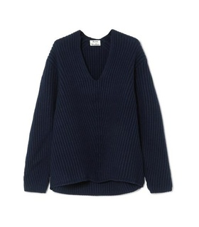 Acne Acne Studios - Deborah Ribbed Wool Sweater - Navy White, Blue
