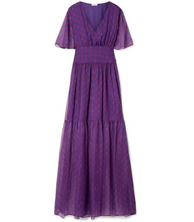 Eywasouls Malibu Eywasouls Malibu - Maria Printed Chiffon Maxi Dress - Purple White, Purple