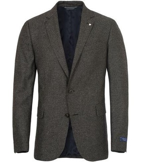 GANT Gant CS Salt And Pepper Tailored Blazer Charcoal Melange Grey, White