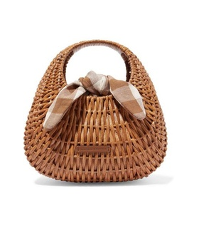 Loeffler Randall Loeffler Randall - Lorna Wicker And Gingham Canvas Tote - Brown White, Brown