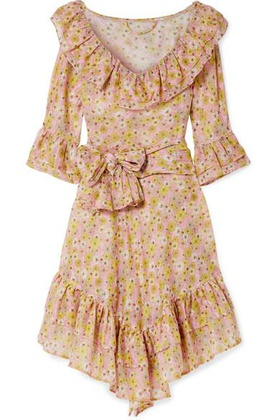 Lisa Marie Fernandez Lisa Marie Fernandez - Laura Ruffled Floral-print Cotton-voile Dress - Pink Pink