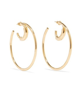 Chloé Chloé - Reese Gold-tone Hoop Earrings - one size White, Gold