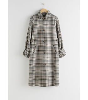 & Other Stories Plaid Check Long Tailored Coat - Beige Beige