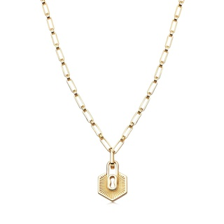 missoma Gold Textured Padlock Chain Necklace Gold