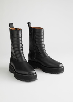 & Other Stories Square Toe Leather Biker Boots - Black Black