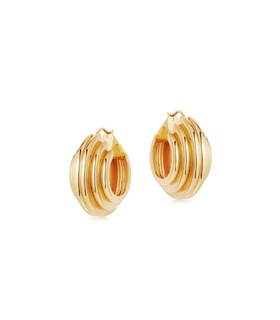 missoma Lucy Williams Gold Medium Chunky Ridge Hoops Gold