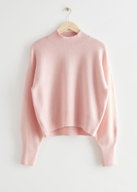 & Other Stories Mock Neck Sweater - Pink Pink