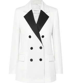 Racil Racil - Hatanaka Double-breasted Wool-piqué Blazer - White White