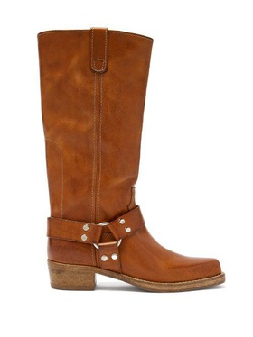 Re/Done Originals Re/Done Originals - Cavalry Leather Knee-high Boots - Womens - Tan Brown