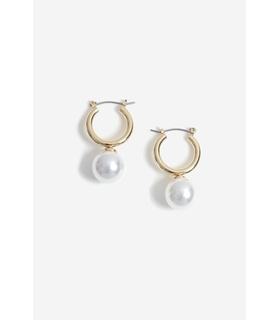 Gina Tricot Gold look Hoop With Pearl Drop Earrings White, Beige