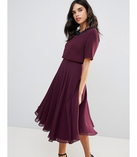 ASOS ASOS 3D Embellished Crop Top Midi Skater Dress - Wine White, Purple