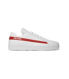 Prada Prada - Avenue Last Logo-embellished Leather Sneakers - White White