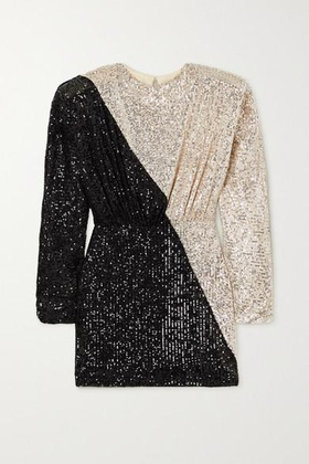ROTATE Birger Christensen ROTATE Birger Christensen - Billie Two-tone Sequined Stretch-knit Mini Dress - Silver Silver