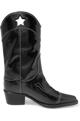 Ganni GANNI - Embroidered Patent-leather Cutout Boots - Black Black