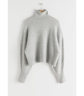 & Other Stories Soft Wool Blend Turtleneck Sweater - Grey Grey