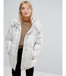 Weekday Weekday Padded Jacket - Beige White, Beige