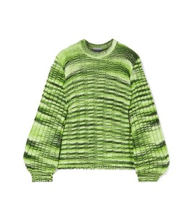 Ganni GANNI - Neon Mélange Ribbed-knit Sweater - Green Green