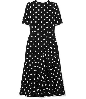 Oscar De La Renta Oscar de la Renta - Polka-dot Wool-blend Crepe Midi Dress - Black Black, White