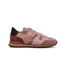 Valentino Valentino - Valentino Garavani Leather And Suede-trimmed Camouflage-print Canvas Sneakers - Baby pink White, Pink