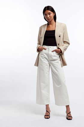 Gina Tricot Crop wide jeans White