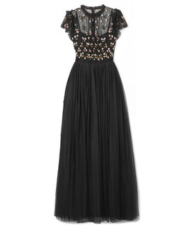 Needle & Thread Needle & Thread - Rococo Sequin-embellished Point D'esprit And Embroidered Tulle Gown - Black Black, White