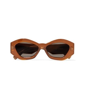 Le Specs Le Specs - The Ginchiest Hexagon-frame Acetate Sunglasses - Camel Beige, Brown